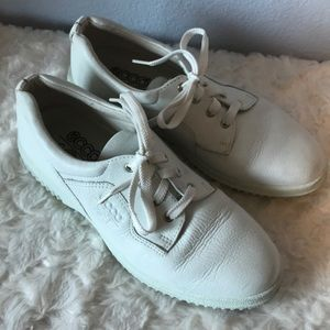 Old school white Ecco soft spot shoes